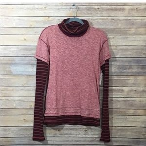 NWT Free People Piper Twofer Long Sleeve Tee – Red